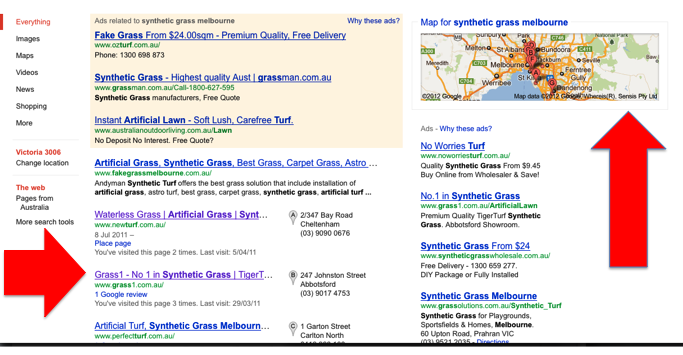 Google places listings in a google search engine results page